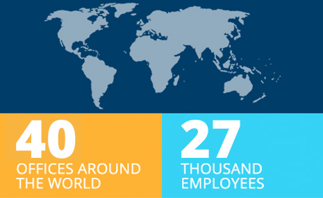 picture of globe and iconography showing 40 offices around the world and 27,000 employees